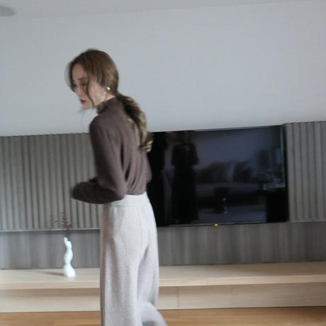 【即納】(brownのみ) cashmere wool center line PT