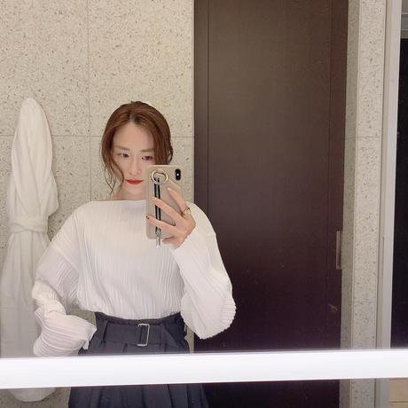 【即納】(gray beigeのみ) pleats blouse