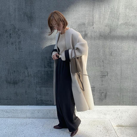 【即納】'NUEmade' wool tuck wide PT