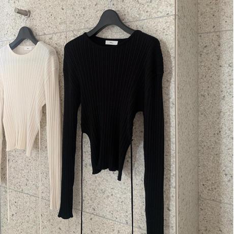 Back ribbon knit tops