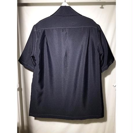 s/s open-necked Shirt - wt. stitch
