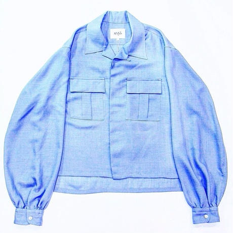 <LANTIKI Exclusive items.>Open-necked shirt - linen styles #Blue