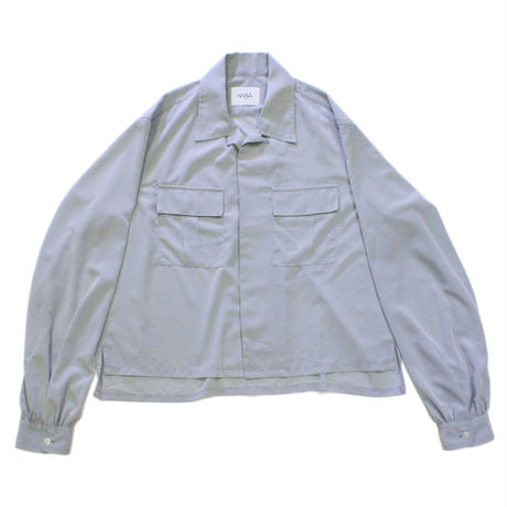 Open-necked Shirt #Ice gray