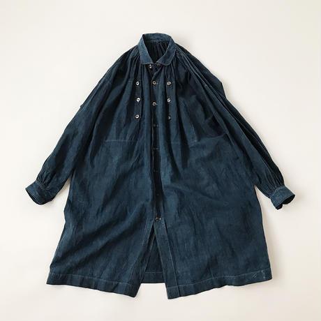 Indigo linen smock coat