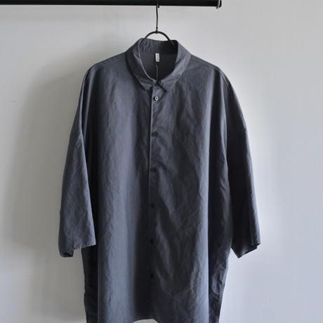 【FIRMUM】ナイロンタッサーガーメントダイ5分袖ワイドシャツ