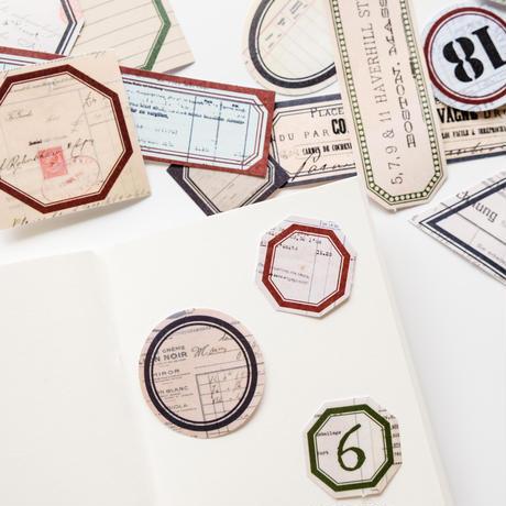 フレーム素材 フレークシール 40枚 vintage labels [AZ261]