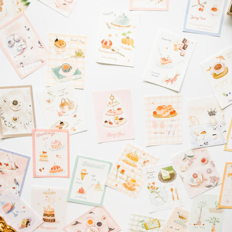 水彩イラストデザインペーパー 100枚 afternoon tea [AZ191]
