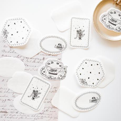 コラージュ素材 手書き風デザインペーパー 16枚 afternoon tea [AZ212]