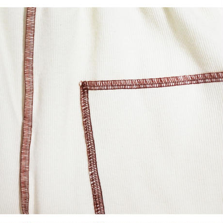 ribknit pants  (ivory×bordeaux)