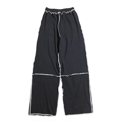 ribknit pants  (black×white)
