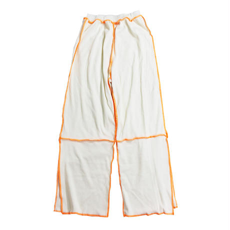 ribknit pants  (ivory×neon orange)