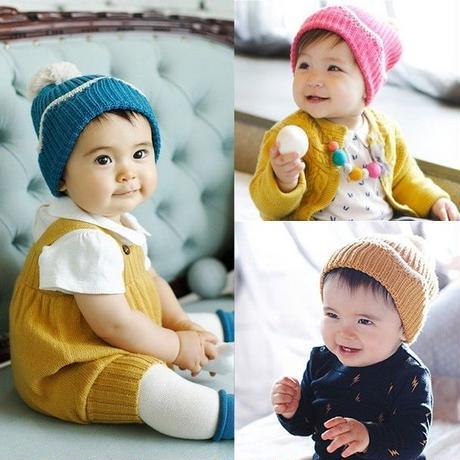 帽子 ベビー かわいい ポンポン キッズ ニット帽 秋冬 プレゼント 贈り物 ネコポス khb-032