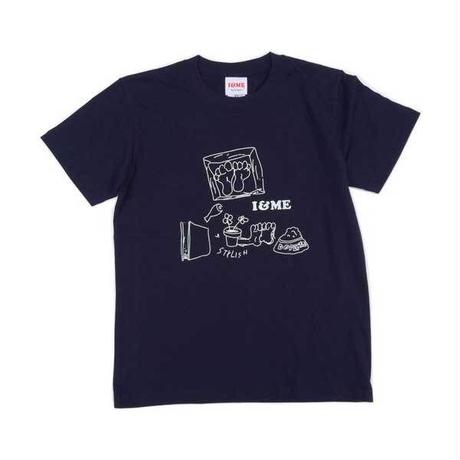 I&MEアイアンドミー 東京発ユニセックスストリートブランド Drawing Teeネイビー ストリート系ガールズファッション