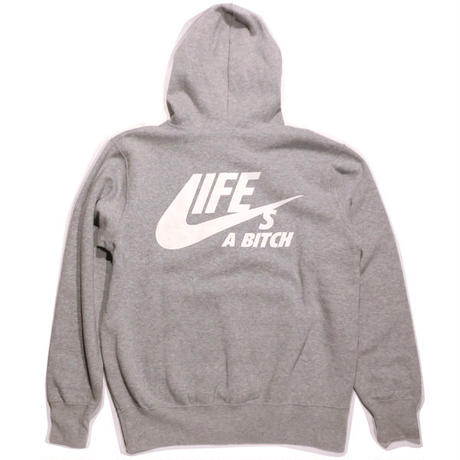 [50%OFF!] N.Y.A LIFE's A BITCH プルオーバーパーカーGREYグレーNAS ILLMATIC Hoodie JAPAN exclusive