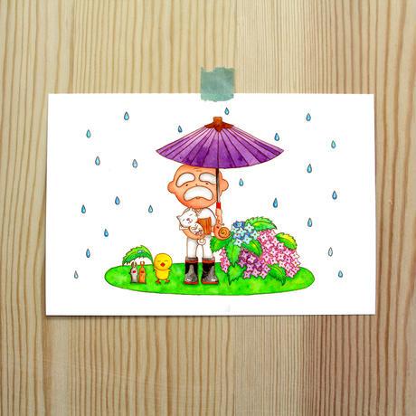 ポストカード じーさんシリーズ 「梅雨っていいな」