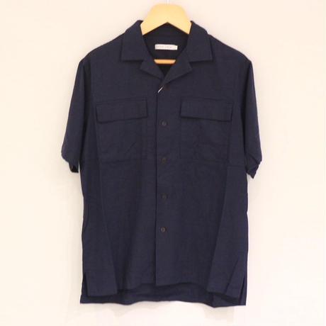 HofB リネンオープンカラーシャツ(navy)