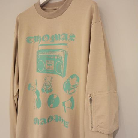 THOMAS MAGPIE プリントLSシャツ ( ホワイト/ベージュ )