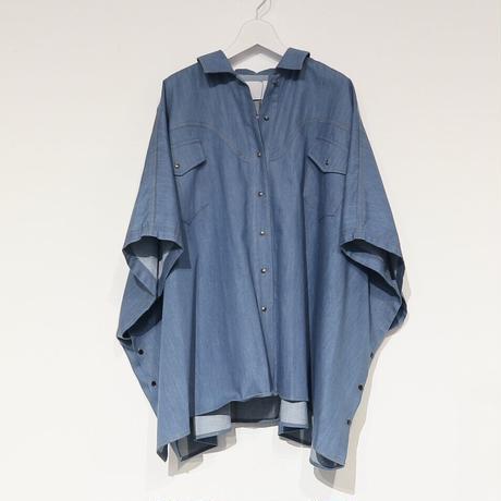 tranoi デニムポンチョ ( ライトブルー/ブルー )