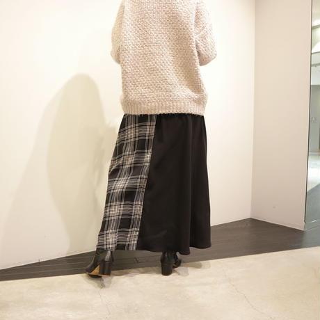 tranoi パッチワークスカート(black×check)