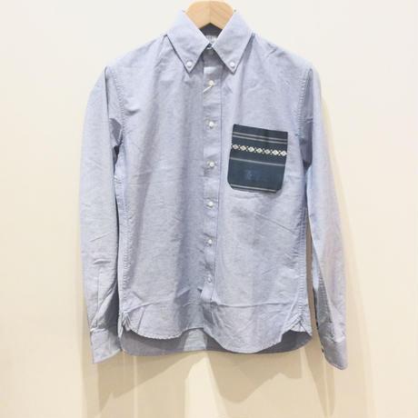 博多織ポケットシャツ sax