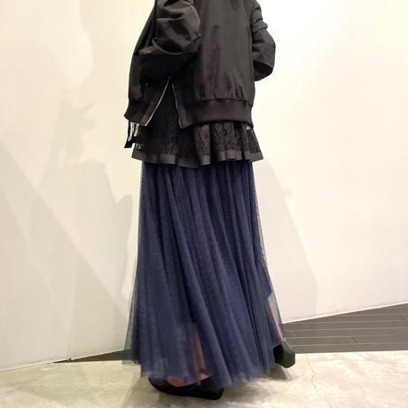 NOWYOUKNOW ドットチュールスカート ( ネイビー/ブラック )