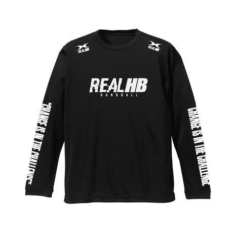 スリーブプリント ロングドライTシャツ ブラック