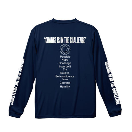 スリーブプリント ロングドライTシャツ ネイビー