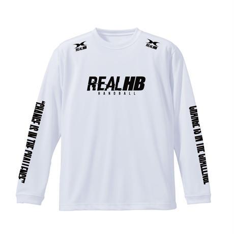 スリーブプリント ロングドライTシャツ ホワイト