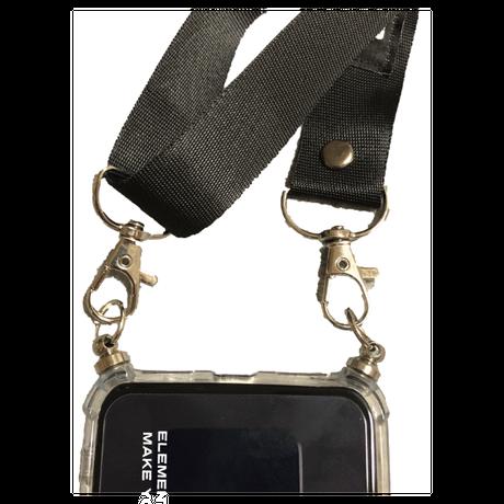 ネックストラップ付 iphoneクリアケース    ブラック