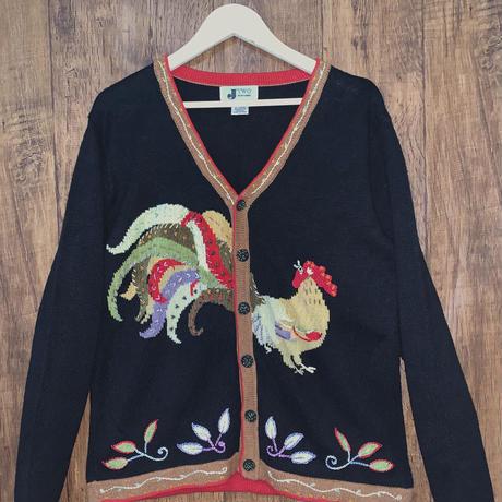 にわとり 鳥 セーター ニット カーディガン 立体 刺繍 手刺繍 ビーズ 装飾 内ボタン 個性的 USA vintage used 古着/club723(N143)