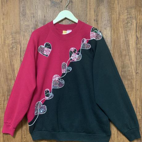 90年代 90s fruit of the loom 個性的 装飾 アップリケ ラグラン スウェット トレーナー ピンク 黒 USA used vintage 古着/ club723(N174)