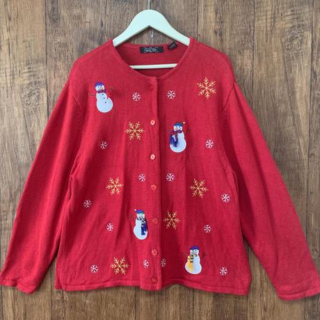 雪だるま クリスマス セーター ニット カーディガン XL アグリー 赤 刺繍 アップリケ 雪 スノーマン アメリカ USA vintage used 古着/ club723(N149)