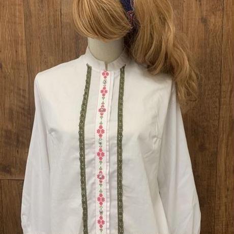 Dacron ヨーロッパ チロル チロリアン 刺繍 レース 白 ブラウス ヴィンテージ ダンス vintage 古着/ club723(N17)