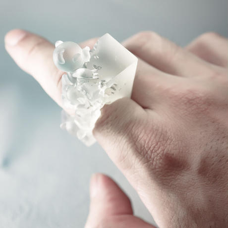 "Bear,Bear … and Bear ""Transparent SQUARE "" / ring"
