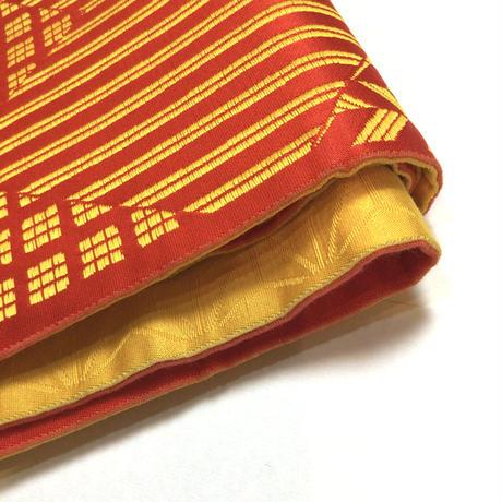 半幅帯 化繊  赤×黄 矢絣や格の切りばめ柄 ob135