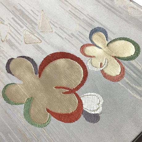 名古屋帯 九寸 白地にカラフルな花柄 ob100