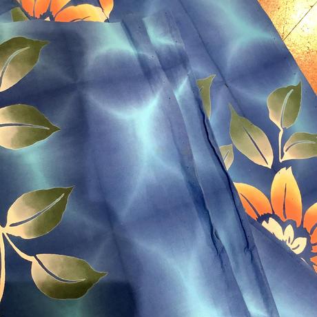 浴衣 注染  青地に黄色~オレンジの鉄扇柄 yu28