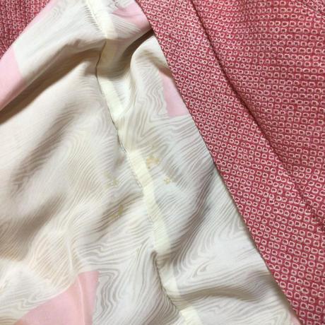 正絹 羽織 絞り ピンク地に横段 中に花柄 h37