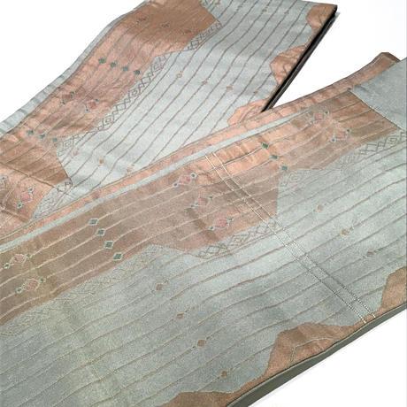 半幅帯   正絹   博多織   暗め水色×ベージュ 山のような柄   ob108