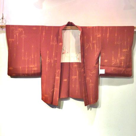 羽織 正絹 海老茶色地に竹柄 h68