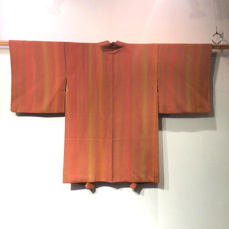 羽織 正絹 赤茶色地に縦縞柄 h64