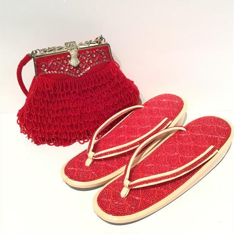 ビーズバッグ・草履セット 赤に銀の装飾 B5
