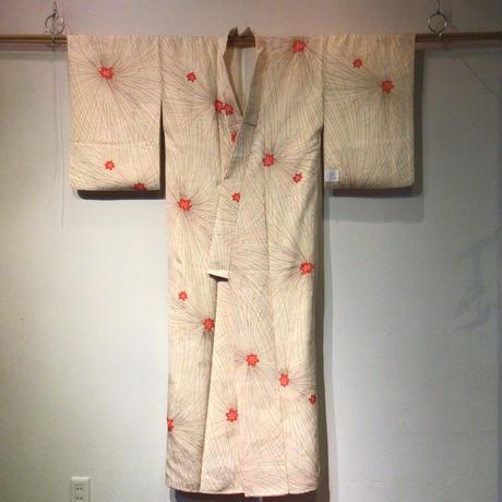 袷 正絹 白地に点線の糸菊柄 z141