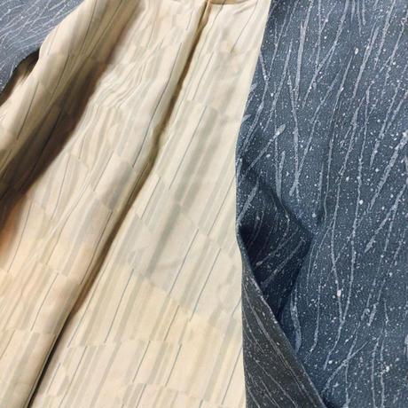 正絹 羽織 ブルーグレー地にランダムな線と霰柄 h35
