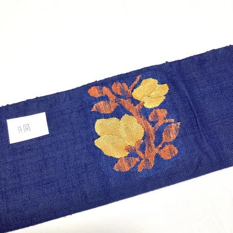 名古屋帯 八寸 紺色に花柄 ob168