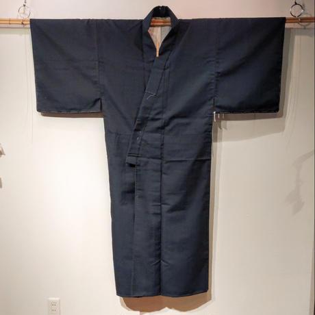 ウール 単衣 紺地 亀甲絣 mz10