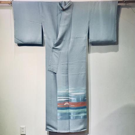 正絹 袷 付け下げ日の出日の入柄 z117