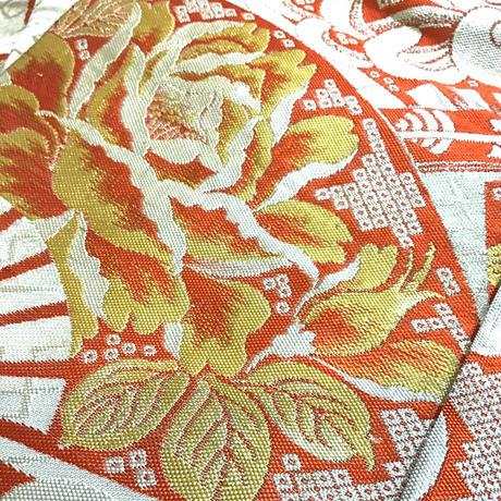 半幅帯   アンティーク   生成地に朱赤の扇 菊柄等   ob111