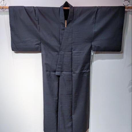 正絹 袷 濃紺地・亀甲絣 mz5