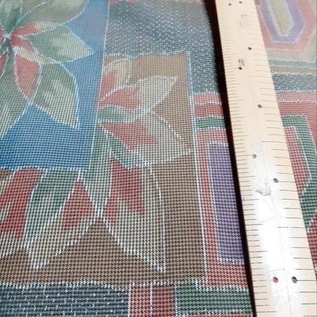 正絹 袷 色大島 切り嵌め葉柄 z1